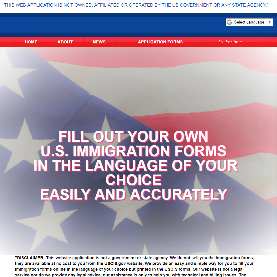 Immigration and Naturalization Forms Home Page